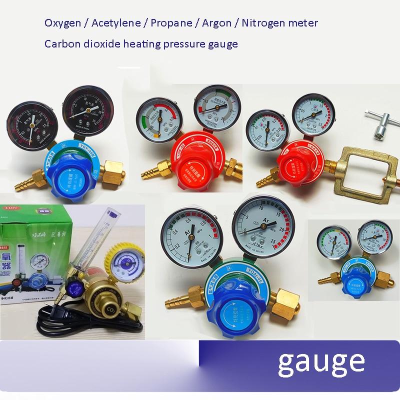 Copper Oxygen Acetylene Propane Argon Nitrogen meter Reducer Pressure reducing valve Carbon dioxide heating pressure gauge oxygen pressure regulator yqy 07 copper o2 pressure regulators