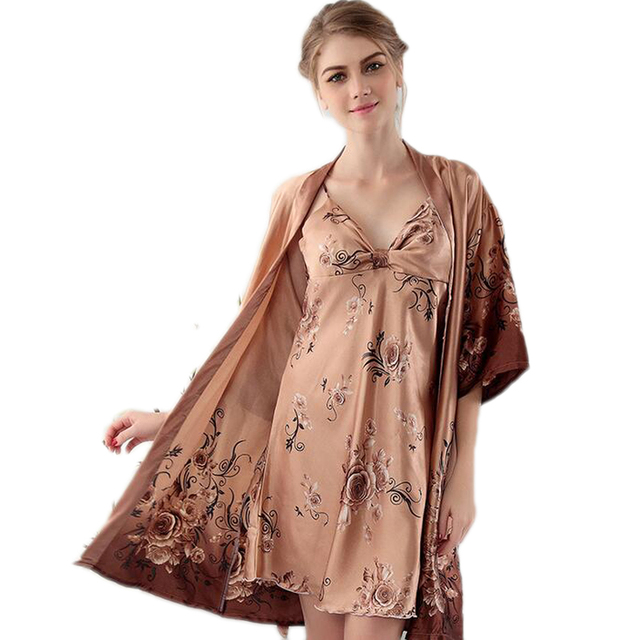 2 Pieces Women Sleep Suits Robe Sets Imitated Soft Silk Women Pajamas Sets Women Robe & Sets For Girls Nightgown 2016 Hot Sales
