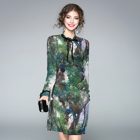 100 Silk Dress Women Peacock Print Lace Up Stand Neck Long Sleeves Polyester Lining New Fashion