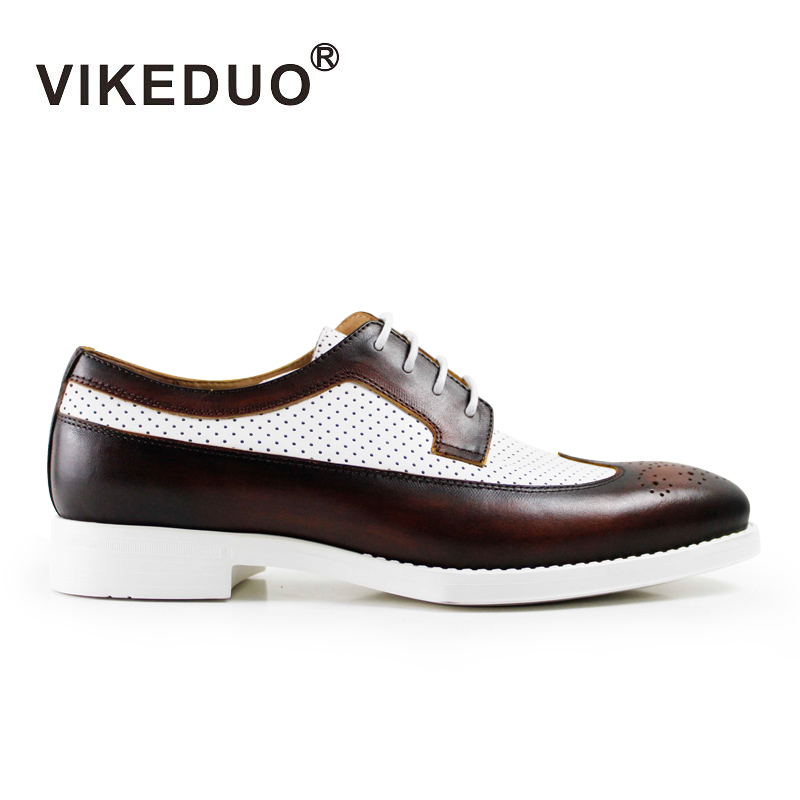 VIKEDUO Luxury Brand 2017 Vintage Men Handmade Italy Mens Derby Shoes Wedding Party Shoes 100% Genuine Leather Exclusive Flat