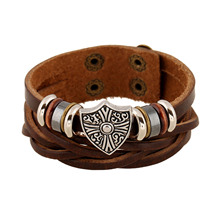 Steampunk Style Genuine Leather with Cross Pattern Charm Bracelet Bangles Wristband for Women Men