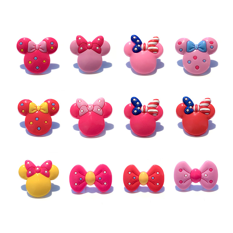 Sale 1pc Mickey Bowknot PVC Shoe Charms,Shoe Buckles Accessories Fit Bands Bracelets Croc JIBZ,Kids Party X-mas Gifts