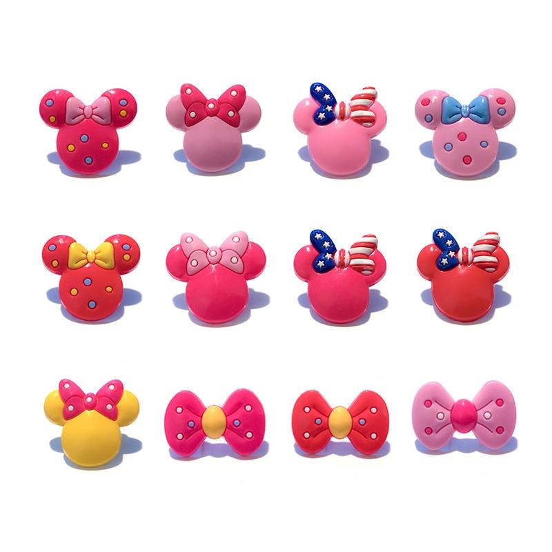 Sale 1pc Mickey Bowknot PVC Shoe Charms,Shoe Buckles Accessories Fit Bands Bracelets Croc JIBZ,Kids Party X-mas Gifts