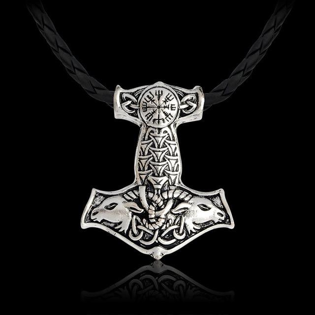 2018 de Prata Do Ouro Do Vintage Mito Thor martelo Mjolnir Viking Amuleto Totem Pingente Colar Gargantilha Colar de Presente de Cadeia Para Homens Jóias