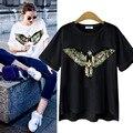 2016 nuevas mujeres del verano con lentejuelas moda Águila de la historieta Camiseta Del O-cuello de manga corta tops camisetas Europeas y Americanas