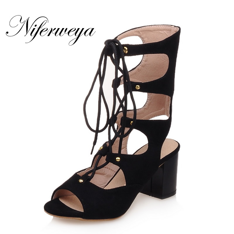 2017 New summer women boots sexy Peep Toe thick heel high heel shoes big size 33-43 Lace-Up Gladiator sandals zapatos mujer miquinha peep toe crystal embellished tassel women summer shoes lace up sandals sexy high thin heel star runway mujer sandalia