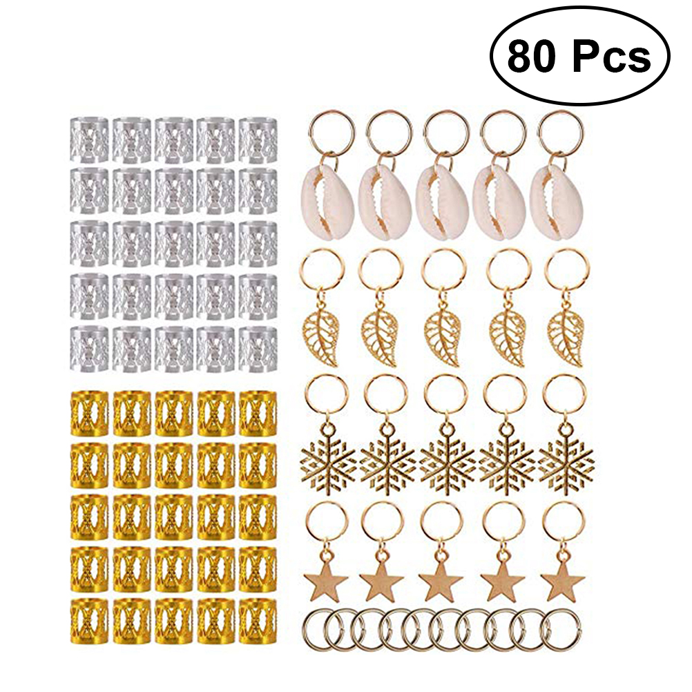 Pendants Braid-Rings Cuffs Jewelry Hair-Braid Easy-To-Use 80pcs Polished Multiple