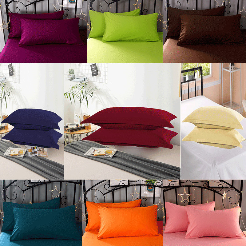 2 Pieces 100% Polyester Solid Color Super-soft Advanced Encryption Fabric Pillowcase 50 * 70cm Various Specifications