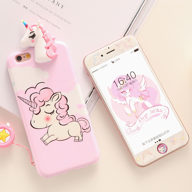 separation shoes 6cd0b ee53a US $7.59 5% OFF|Unicorn case For iPhone 7 /8 Plus Tempered Glass film for  iPhone 6 6s Plus case soft cover cartoon Screen Protector for ip 7plus-in  ...