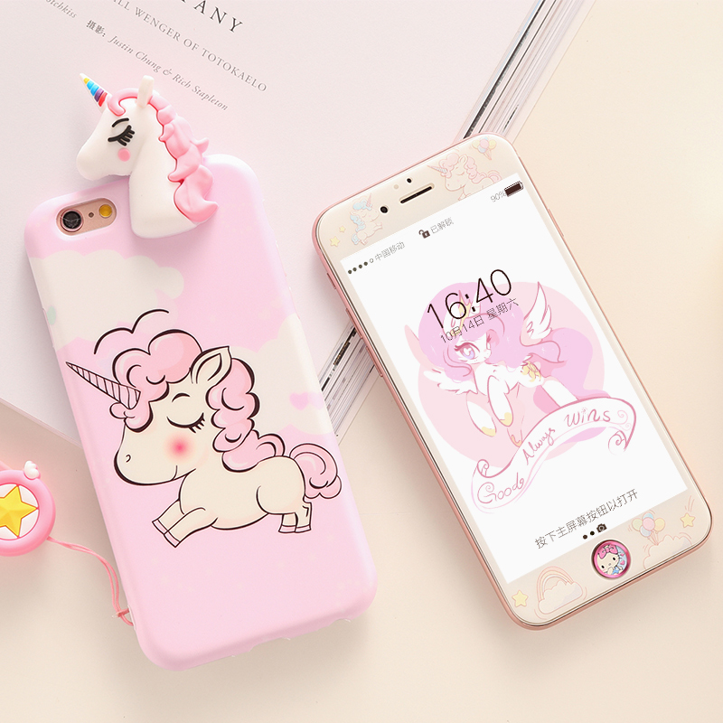 Unicorn case For iPhone 7 /8 Plus Tempered Glass film for iPhone 6 6s Plus case soft cover cartoon Screen Protector for ip 7plus ...