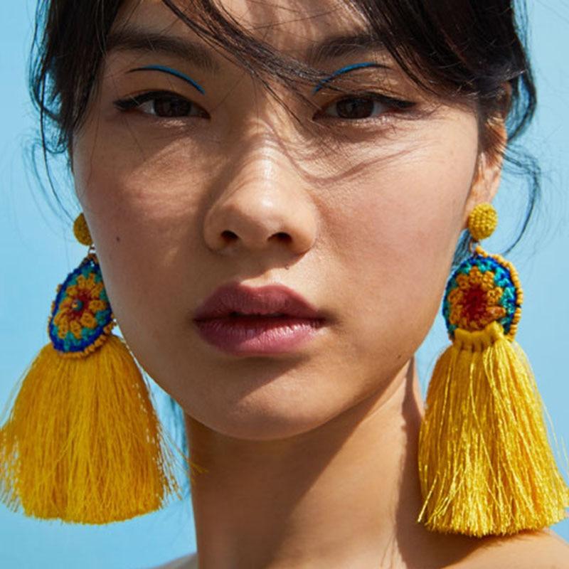 Vedawas 2018 Boho Long Tassel Dangle Drop Earrings For Women Fashion ZA Jewelry Handmade Fringe Statement Female oorbellen xg188
