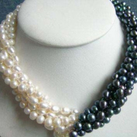 Original Design 5rows 7 8mm Natural White Black Freshwater Cultured Pearl Beads Necklace For Women Party