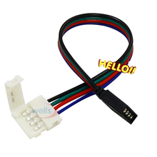 Free shipping 5pcs/lot 4pin to female plug led connector For 5050 RGB Strip Lamp 4Pin Female Connector clip Cable 15cm long wire