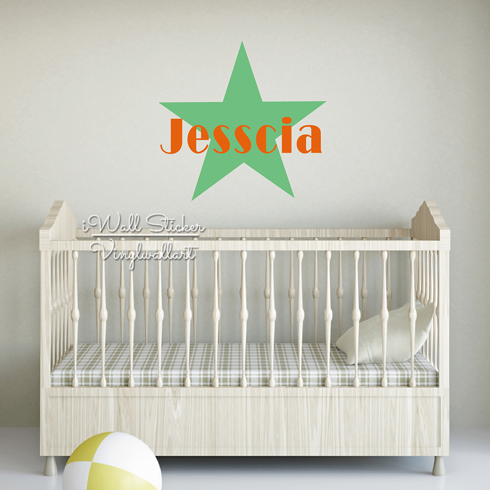 Lovely Girls Name Wall Sticker Star Name Wall Decal Children Boys Name Stickers Baby Nursery Star Decals Cut Vinyl Stickers C60