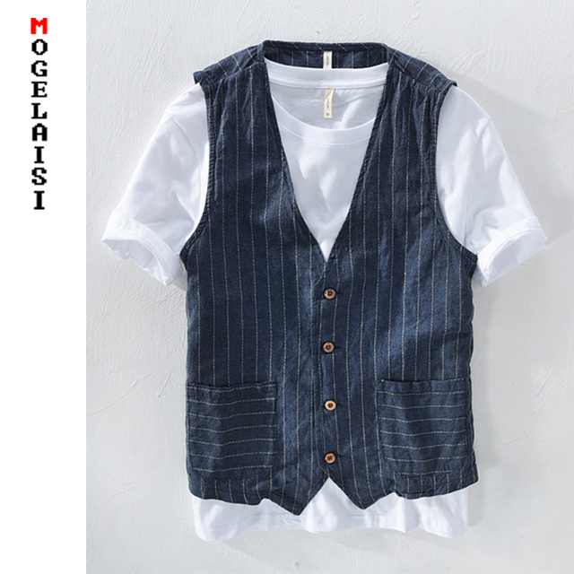 Linen Mans Vest Slim Chestline range 100-116 cm Material 55%linen + 45%cotton Autumn Vest Men Striped thin Asian Size M-3XL