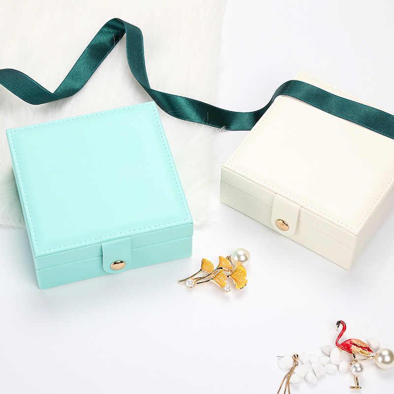 المحمولة السفر صندوق مجوهرات تغليف بولي Leather الجلود الكورية أقراط بسيطة حلقة علبة حفظ مجوهرات المنظم علب الهدايا