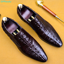 QYFCIOUFU 2019 Handmade Italy Fashion crocodile shoes Wedding Party oxford shoes for men Genuine Leather Men's Derby Dress Shoes