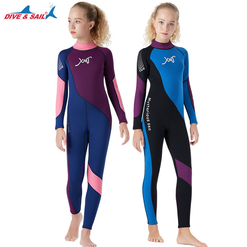 TSMC Kids Diving Suit 2.5MM Neoprene Wetsuit Children Keep Warm Snorkeling Surfing One-piece Long Sleeves UV Protection Swimwear