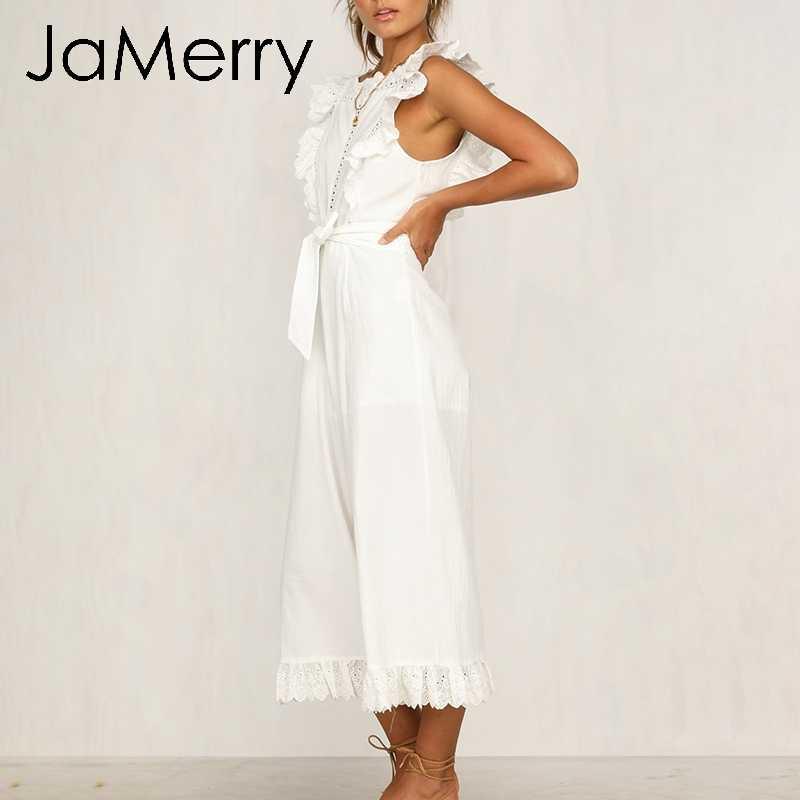JaMerry Vintage coton lin ébouriffé broderie femmes combinaison élégante évider ceintures longue combinaison barboteuse salopette décontracté