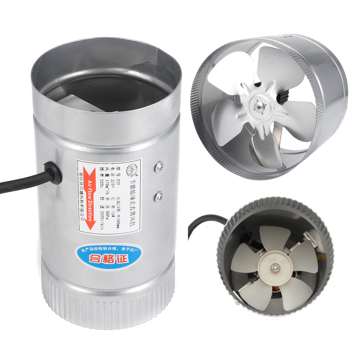 4/6/8/10 Inch Inline Air Ducting Fan Ventilator Metal Booster Fan Blower Intake Out-Take Ventilation Vents For Kitchen Bathroom