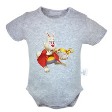 Cute Alice In Wonderland and Cheshire Cat White Rabbit Little Mermaid Ariel Design Newborn Baby Outfits Jumpsuit Infant Bodysuit(China)