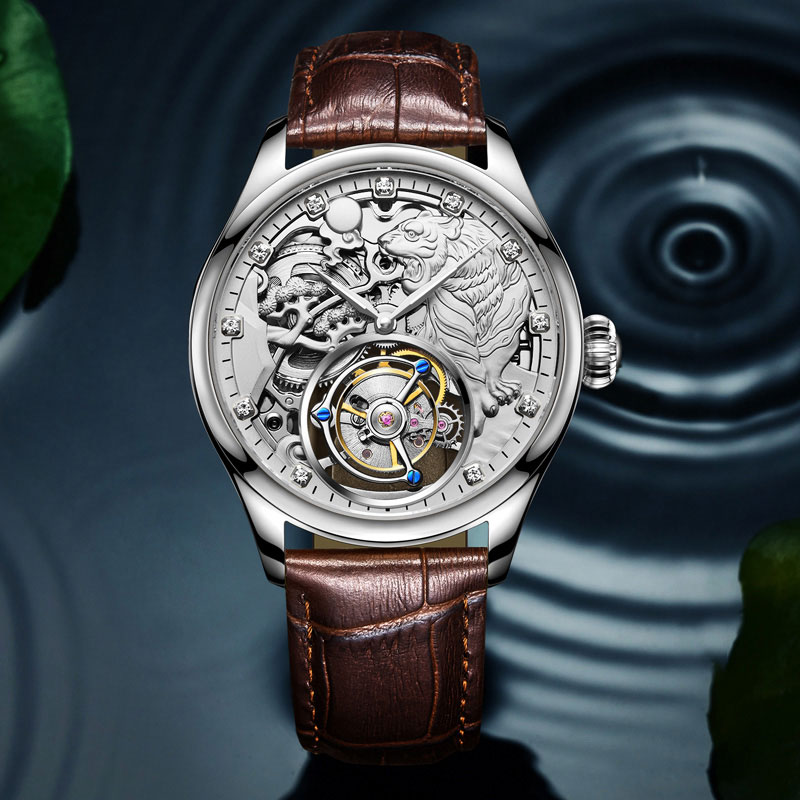 Hand Carved Exquisite Tiger Tourbillon Men's Automatic Mechanical Watch Gift Table Time accurate Relogio Masculino Seagull Movem