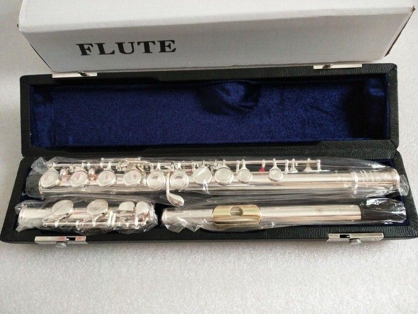 Nouvelle flûte YFL-212 instrument de musique 16 trous E clé musique C air flûte primaire plaqué or avec performance de boîtier image réelle