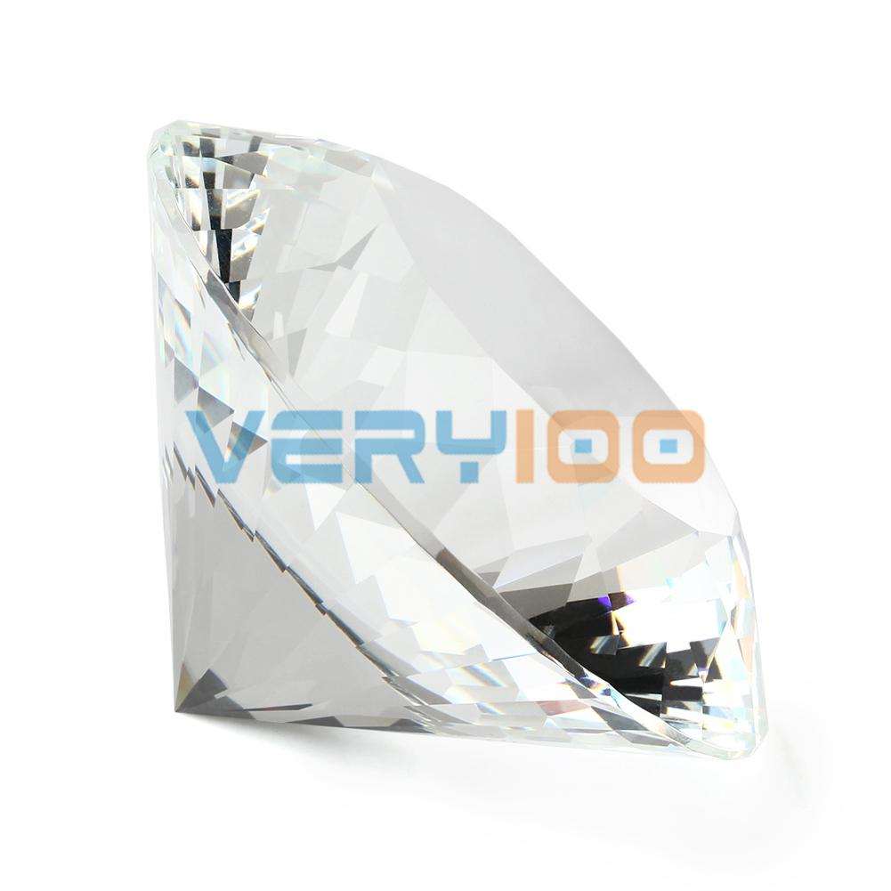 High Quality 80mm Clear K9 Crystal Paperweight Cut Glass Large Giant Diamond Jewel Gift