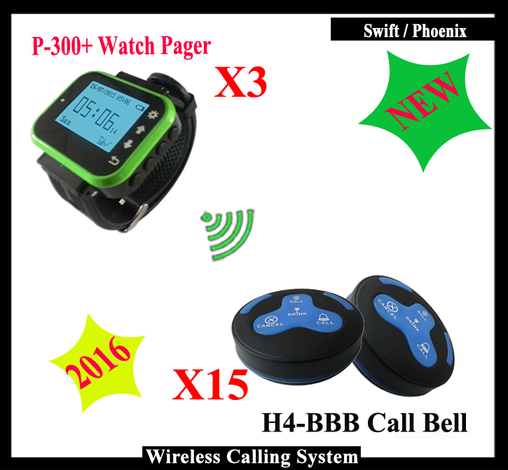 Wireless Calling System Pager for fast food Restaurant Club with 3 watch receiver and and 15 waiter call button,Free Shipping tivdio wireless restaurant calling system waiter call system guest watch pager 1 watch receiver 10 call button f3300a