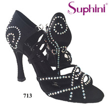 Free Shipping 2017 Suphini High Heel Latin Dance Shoes Woman Black Salsa Dance Shoes
