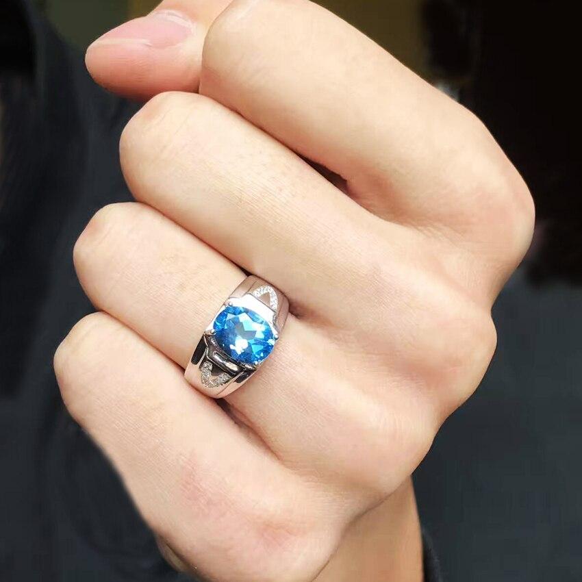 Mężczyźni pierścionki prawdziwy naturalny Topaz klejnot człowieka prawdziwa 925 Sterling Silver szlachetnych niebieski kamień szlachetny Fine Jewelry w Pierścionki od Biżuteria i akcesoria na  Grupa 2