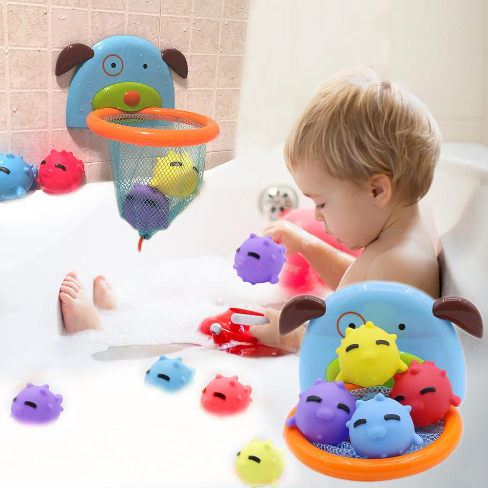Children Bath Dabbling Toy Shooting Toy Ocean Ball Dabbling Basketball Hoop Stand Sports Basketball For Baby Showering