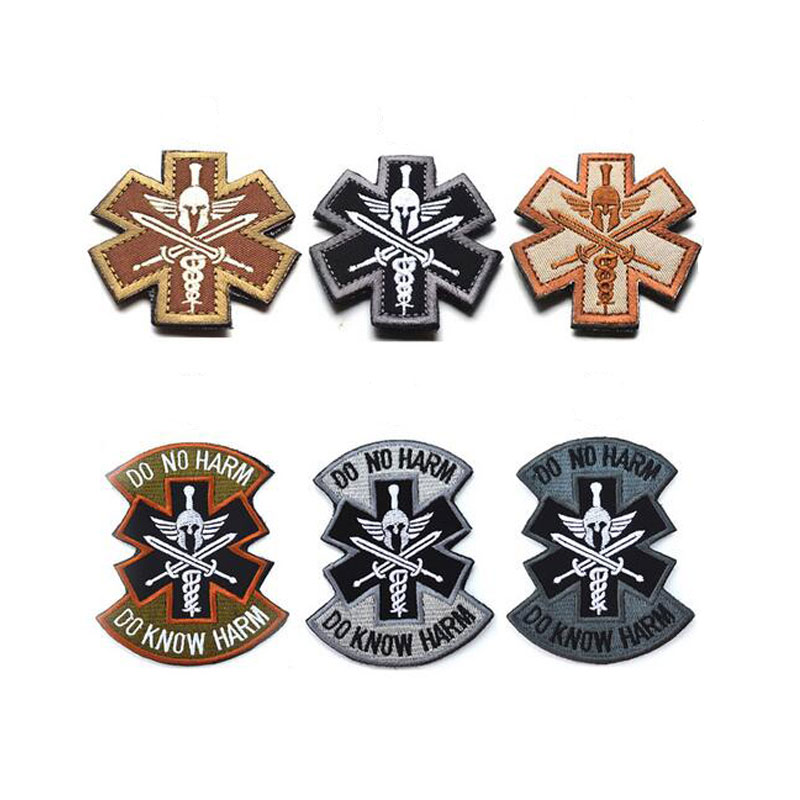 Patch militari 3D ricamate DO KNOW NO HARM Bracciale militare Morale Patch tattico per abbigliamento con gancio e passante