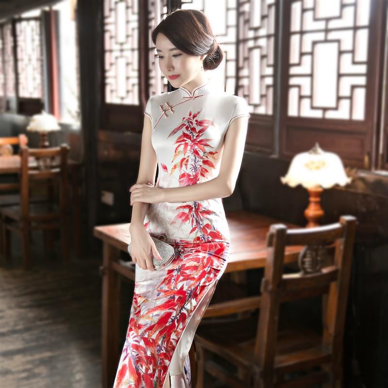 Sheng Coco Slim Cheongsam Women's Chinese Cheongsam Dresses Sexy Lady Dresses White Long Qipao Plus Size Fashion Print Catwalk