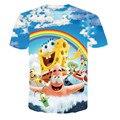2017 Harajuku Casual Anime 3D Print T-shirt Cute Sweet Cartoon Rainbow Spongebob Short Sleeve Shirt Women Tops Female Tee Shirt