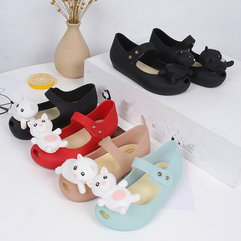 Mini Melissa 2018 New Cute Bear Jelly Sandals Melissa Girl Jelly Sandals Baby Shoes Mini Melissa Sandals Girls Beach Sandals