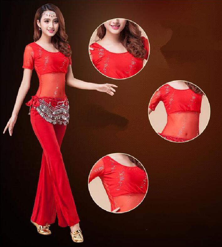 Women Belly Dancing Egyptian Costumes Oriental Style Rhinestone long sleeve short sleeve Belt Belly Dance Costume
