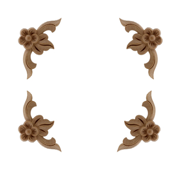 VZLX Vintage Floral Wood Carved Corner Applique Wooden Carving Decal For Furniture Cabinet Door Frame Wall Home Decor Crafts 1