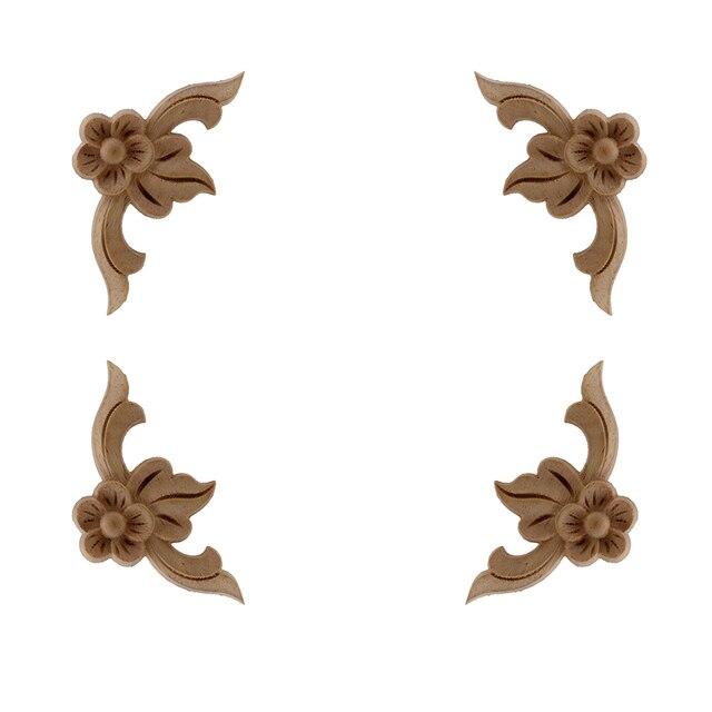 VZLX Vintage Floral Wood Carved Corner Applique Wooden Carving Decal For Furniture Cabinet Door Frame Wall Home Decor Crafts 1