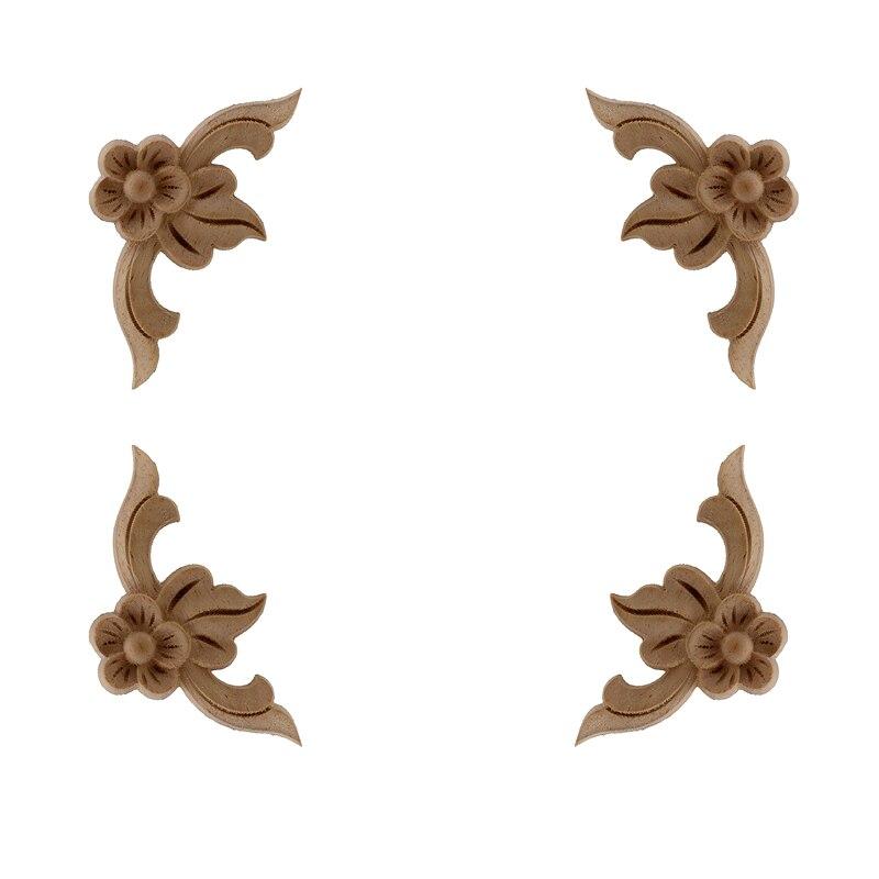 VZLX Vintage Floral Wood Carved Corner Applique Wooden Carving Decal For Furniture Cabinet Door Frame Wall Home Decor Crafts