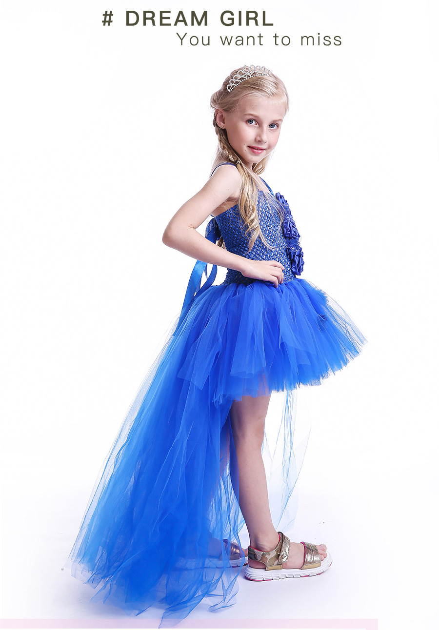 Royal Blue Flowers Girls Tutu Dress High Low Ice Princess Tulle Dress for Wedding Pageant Party Handmade Baby Photo Costume (5)