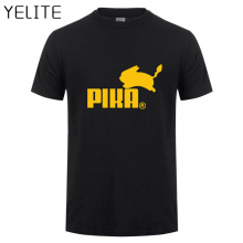 YELITE New Fashion Print Pokemon Shirts T Shirt Anime Pika Men T-Shirts Pikachu Cotton Short Sleeve Tees Tops