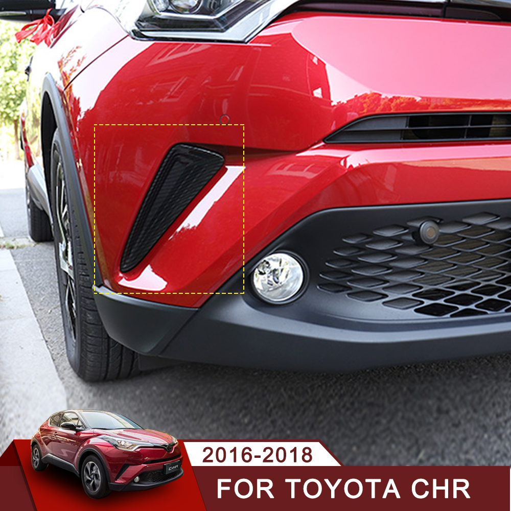 Red Chrome Front Bumper Corner Cover Trim For Toyota C-HR CHR 2PCS 2017-2018