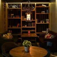 قلادة شريط علوي منتشر القهوة مطعم الإبداعي شخصية الزجاج غطاء فانوس الصلبة الخشب آرت ديكو قلادة مصابيح