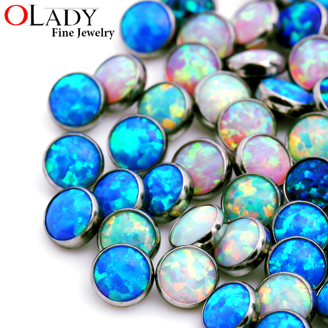 Titanium Opal Stone Cute Dermal Anchor Piercing Jewelry