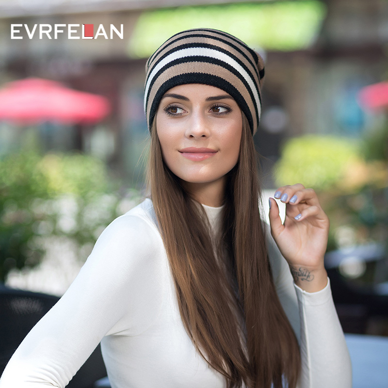 Evrfelan 2018 New Arrival Striped Winter Autumn Hat For Women 5 Colors Fashion Knitting   Skullies     Beanies   Hats Outdoor Cap