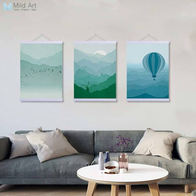 Abstract Landscape Lighthouse Bollon Sun Wooden Framed Canvas ...