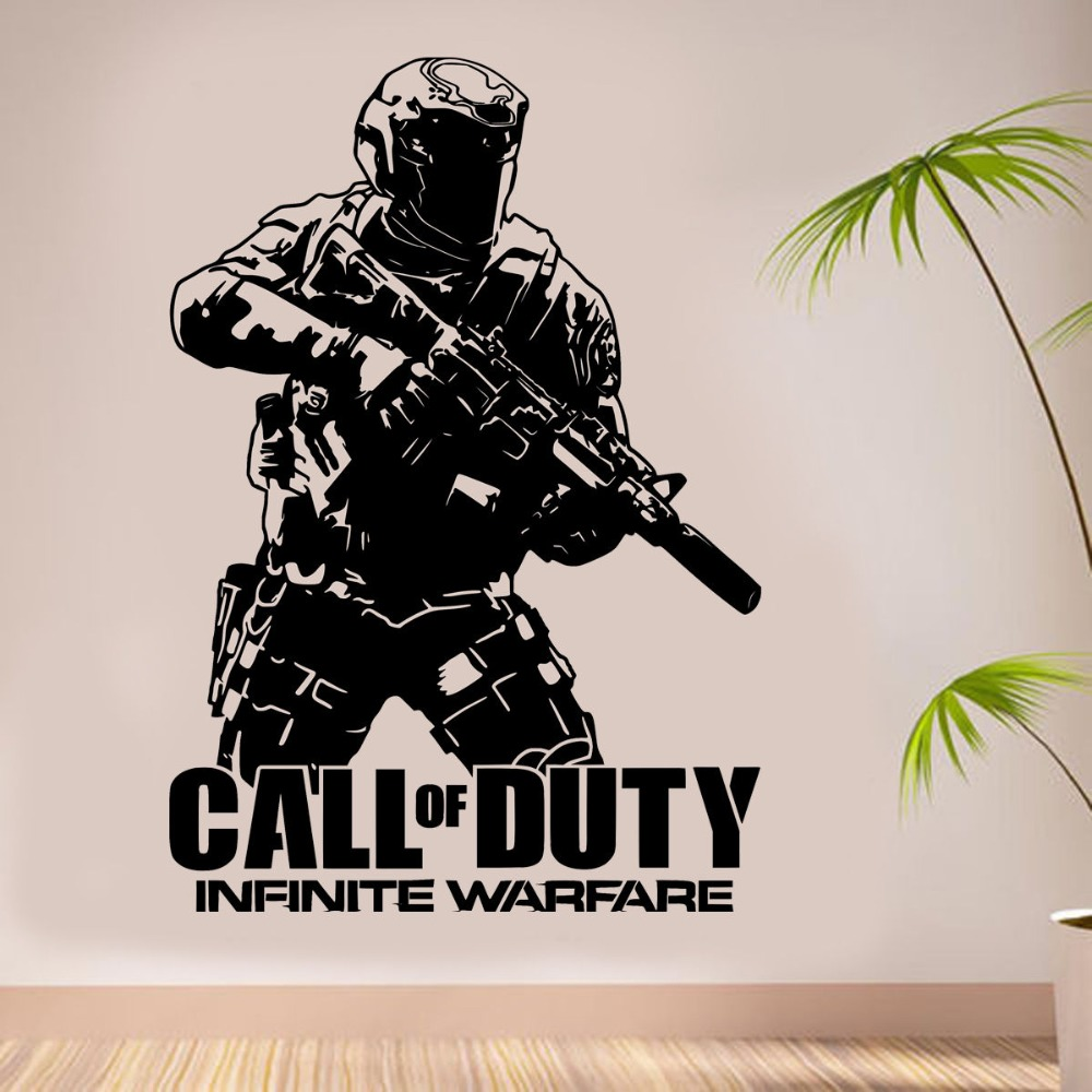 Removable Wall Decal Army Call of duty Infinite Warfare WARFIGHTER ps4 Gamer Vinyl Sticker wall art Decor House Poster NY-298