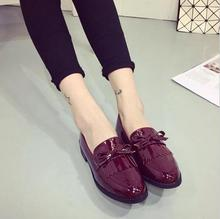 2015 Oxford Shoes for Women with Tassels Leisure PU Leather Brogues Ladies Slip On Platform Shoes Woman Oxfords
