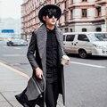 2017 Vestidos de Luxo Mens Longos Casacos Trench Mens Casacos De Lã de Inverno Grande Projeto Gola Dupla Breasted Casacos Longos Slim Fit